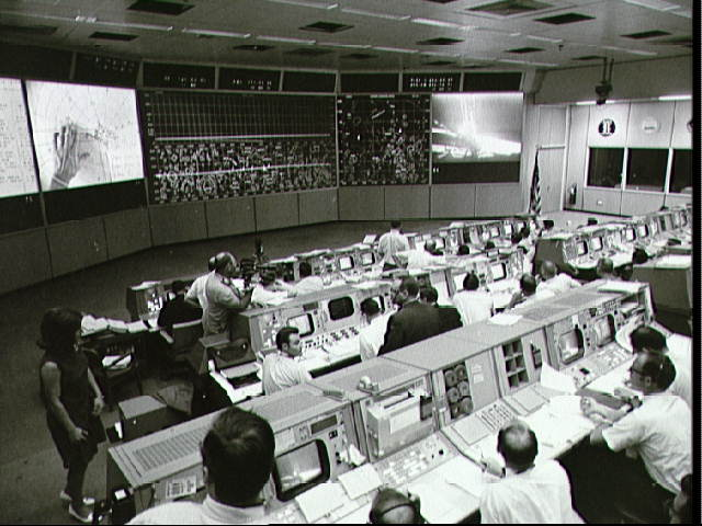 View of Mission Control during lunar surface Apollo 11 EVA