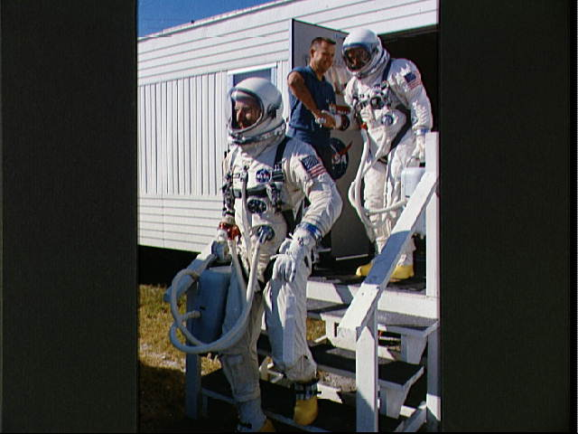 Gemini 12 prime crew leave suiting trailer at Launch ...